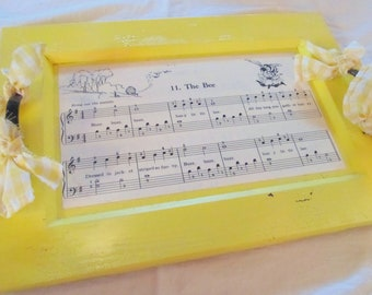 SERVING TRAY -- The Bee-- painted wood with vintage childrens piano primer sheet music