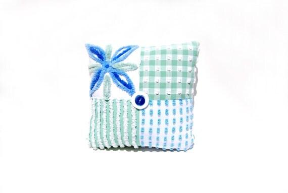 Chenille Pillow - Beach Lilly - Green Blue White Vintage Chenille Handmade Charm Pillow