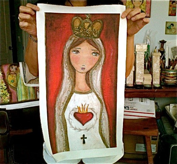 La Virgen de Fátima  - Large Print on Fabric from Original Painting (10 x 20 inches) by FLOR LARIOS