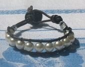 Womens Teens southwestern ivory pearl beaded cuff bracelet with brown leather cording and button gift