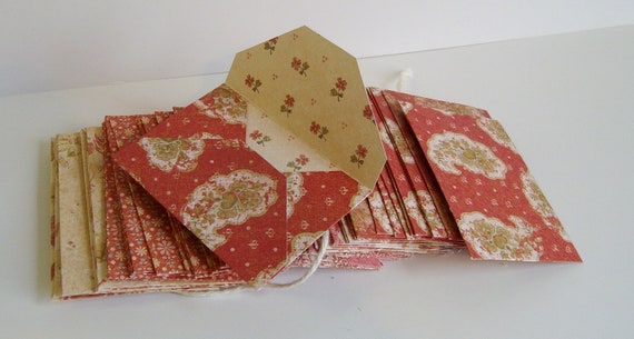 50 Assorted red and beige small envelopes - business card envelopes - gift card envelopes -  size 1 - scrapbook quality paper