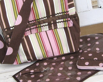 Diaper Bag-14 x 11 x 5 inch -Striped Pink, Browns and Lime Green with Creamy White, Changing Mat and Wipe Case