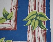 Vintage Startex Tropical Bamboo Tiki Tablecloth  XL