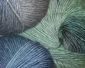 Self-Striping Wool Soy Yarn, 375 yds DK weight, 145 grams, 5.1 oz.  Can be used for felting.