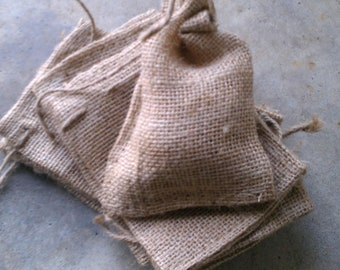 12  Burlap Draw-String Pouches