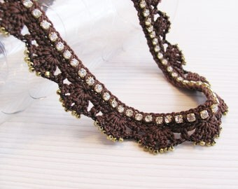 Brown rhinestone chain crochet necklace gold seed beads