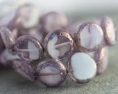last ones .. LILAC TABLETS .. Picasso Czech Glass Coin Beads 14mm  (2427-4)