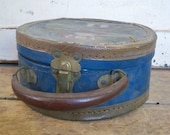 Antique Old Round Doll Case suitcase trunk  box