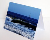 SALE - Sailboat and Waves - BLANK 4x6 Photo NoteCard