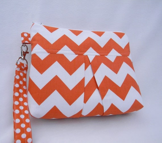 Tangerine and White Chevron Pleated Wristlet Clutch with detachable strap and is Ready to Ship