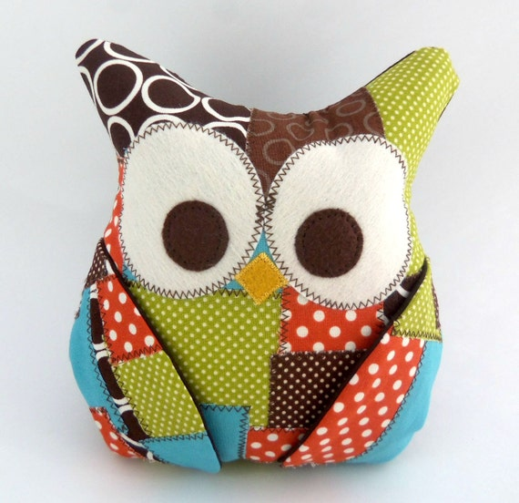 Plush Owl Pillow - patched owl