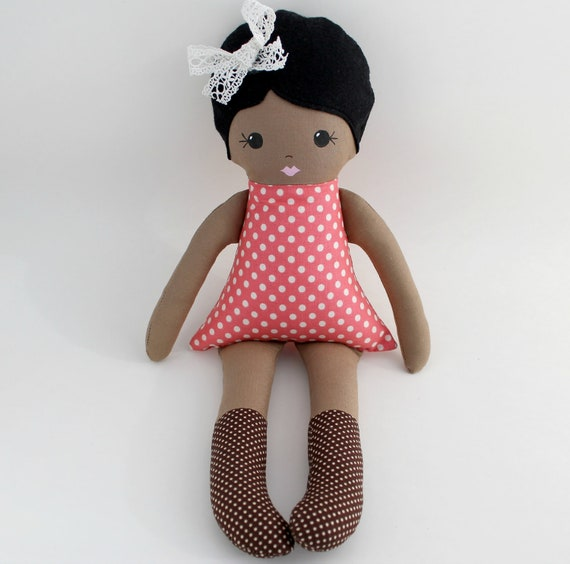 Dark Skinned Cloth Rag Doll Black Hair Pink Dress And Brown