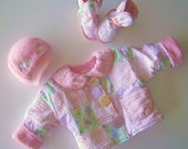 Awesome Pink Patchwork Set - Blanket Jacket, Hat and Booties - ready to ship
