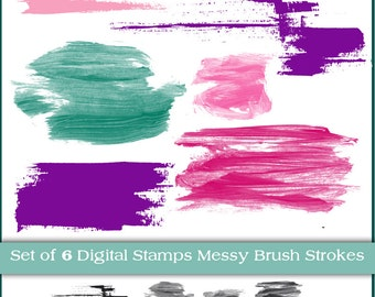 Messy Brush Strokes. Instant Download. Digital Clipart, Brushes and Stamps.  Personal and limited commercial.