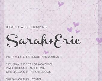Swirled Hearts Wedding Invitation DIY Printable OR Printed Card