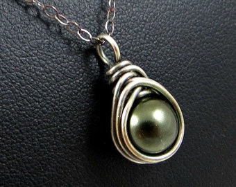 Evergreen Pearl Necklace Fine Silver - Holiday Jewelry