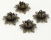 Bronze Bead Cap 10 Vintage Dark Antique Bronze Flower 3 Tiered Layer Filigree Bendable 16mm (1082cap16z1)xz