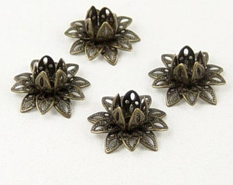 Brass Bronze Bead Cap 10 Vintage Dark Antique Bronze Flower 3 Tiered Layer Filigree Bendable 16mm (1082cap16z1)xz