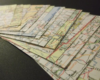upcycled map origami papers