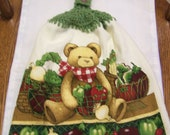 Bear with Vegetables Crochet Top Kitchen Towel