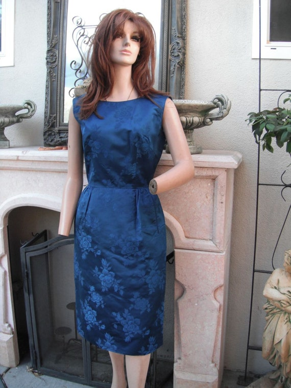 1950's Silk Dress by Royal Lynne  Navy Blue Silk Wiggle Dress