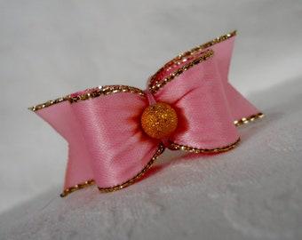 "Dog Bow- 5/8"" Pink Gold Edged Dog Bow"