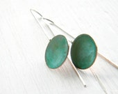 Simple Geometric Verdigris Earrings - Round Drops - handmade copper, sterling silver dangle earrings, verdigris patina