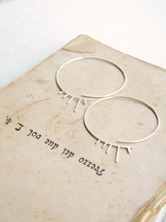 Spiked Fringe Hoops - sterling silver hoop earrings, statement earrings, big hoops, geometric earrings, tribal earrings, made in Italy