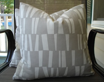 Pillow Covers One Pair 16 x 16 Handmade Light Grey and Cream Pillows Home Decor Decorative Throw Pillows Accent Pillows Cushion Covers