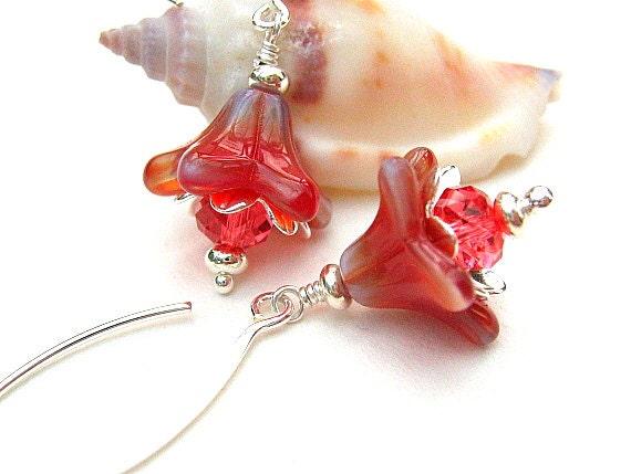 Orange Flower Earrings, Sterling Silver Beaded Earrings, Peach Pink- NECTARINE