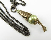 Light Green glass pearl Necklace, Brass Accents, Vintage Style Necklace