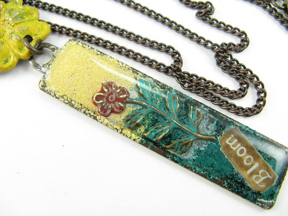 Yellow Flower BLOOM necklace, Hand painted pendant, Long brass Chain Necklace