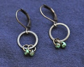 Tiny Turquoise glass drop dangle hoop earrings