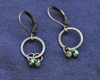 Tiny Turquoise glass drop dangle hoop earrings