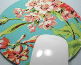 Buy 2 FREE SHIPPING Special!!   Mouse Pad, Computer Mouse Pad, Round Fabric Mouse Pad or Trivet      Bliss Bouquet in Teal