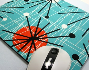 Buy 2 FREE SHIPPING Special!!   Mouse Pad, Fabric Mousepad    Mid-Century Modern Atomic Turquoise