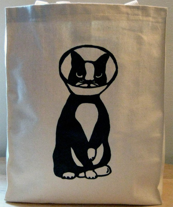 SALE Cone Cat natural unbleached tote