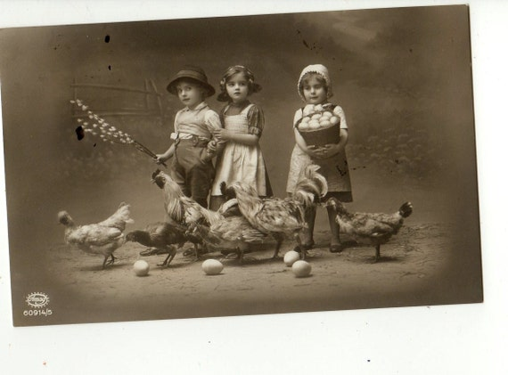 Lovely real photo postcard Children collect Eggs at the Farm yard  Nice postcard, vintage