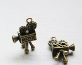 8pcs Antique Brass Base Metal Charm - video tape recorder - Video camera - Movie Maker 26x16mm (26484Y-O-166B)