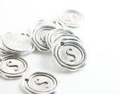 12pcs Oxidized Silver Base Metal Charms-Wax Seal-Letter-Alphabet- S-19mm (15706Y-J-223)