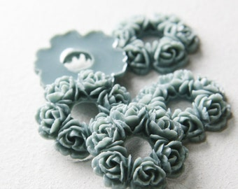 6pcs Acrylic Resin Cabochons-Flower-Grey 29mm (50F5)