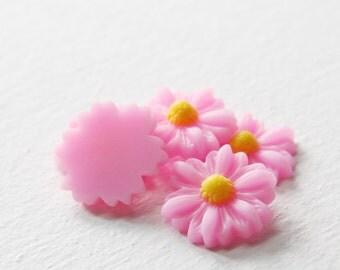 8pcs Acrylic Flower Cabochons-Pink 22mm (26F2B)