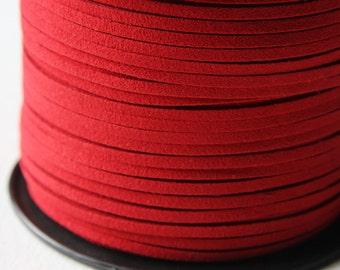 5 meters of Faux Suede - Red 2.5mm