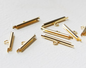 4 pcs of Gold Plated Miyuki Findings-End Tube with 1 loop - 20mm