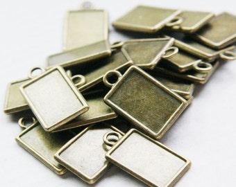 14pcs Antique Brass Tone Base Metal Cameo Settings-24x14mm (1603Y-J-183)