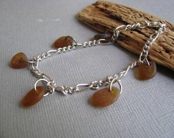 Sea Glass Bracelet - Brown Beach Glass - Amber Seaglass Bracelet