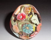 MIXED FLOWER GARDEN Handmade Lampwork Glass Focal Bead  Floral sra