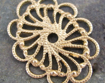 Oval Filigree brass stampings for jewelry 380 - 6 Pieces