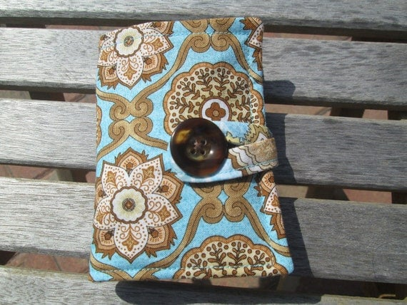 Tea Bag Wallet or Holder in Aqua and Tan Medallions and Floral