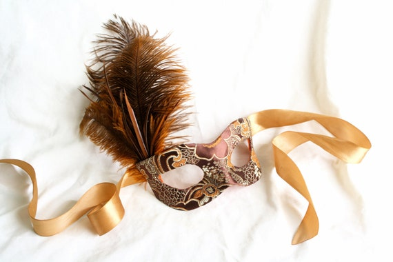 Autumn Twilight - Fall Masquerade Mask in Brown and Copper Satin Brocade with Feather Accents